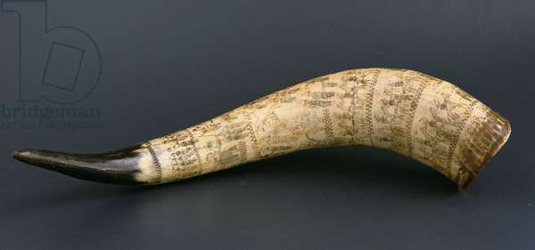 Cow horn engraved with scenes of the Anglo-Zulu war, North Nguni South East Africa, c.1879 (cow horn)