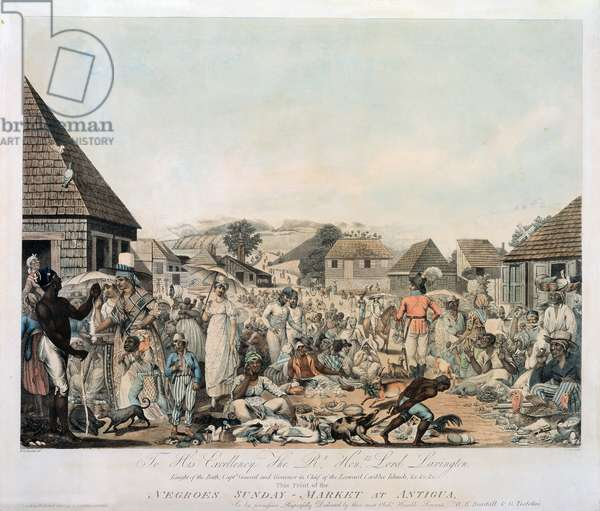 Negroes Sunday Market at Antigua, engraved by Cordon, pub. by G. Tustolini, London, 1806 (etching, engraving and aquatint with publisher's colouring)