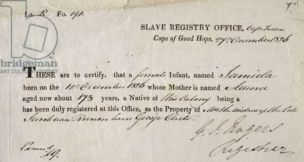 A Slave Registration Certificate, Cape Town, 27th December 1826 (pen and ink on paper)