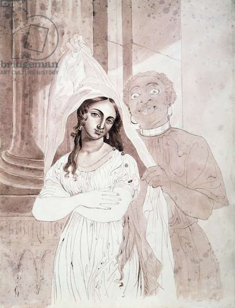 Eunuch Presenting a Slave Girl, c.1840 (pen and washes on watermarked paper)