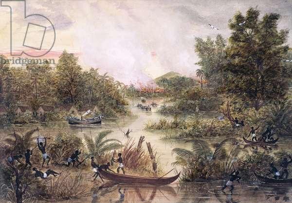 Gunboat Diplomacy, 1877 (w/c on paper)
