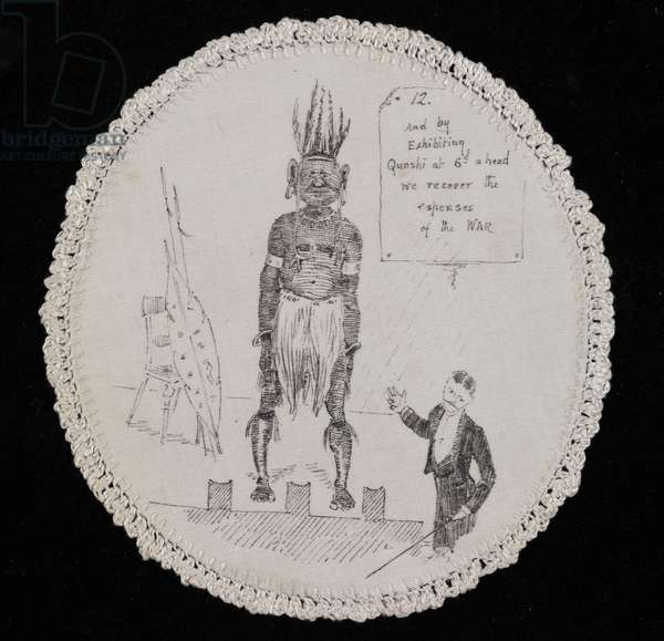 'And by Exhibiting Quashi at 6d a head we recover the expenses of the WAR', 1880s (transfer-printed cotton)