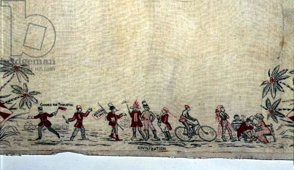Civilisation, from a handkerchief depicting the Slave Trade along each edge, c.1890 (printed linen) (see also 120611)