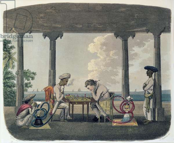 The Chess Match, engraved by T. Rickards, 1804 (coloured engraving)