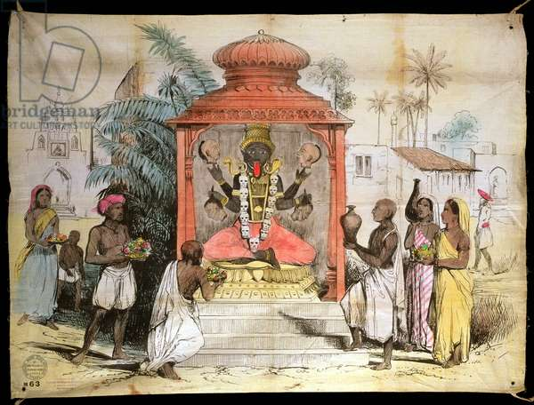 India, Figure and worship of Kali, c.1850 (ink and washes on cloth)