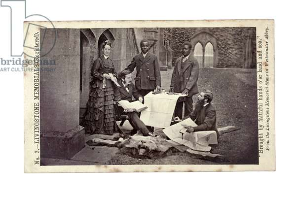 Tom and Agnes Livingstone, Abdullah Susi, James Chuma and Horace Waller, Newstead Abbey, England, June 1874 (albumen print)