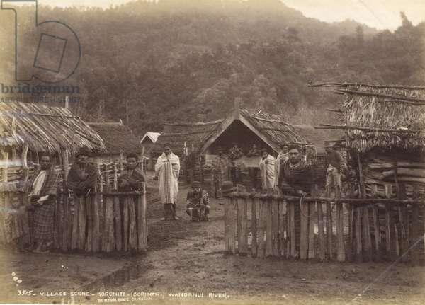 Village Scene - Koroniti (Corinth) Wanganui River, 7th May 1885 (albumen print)
