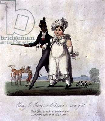 """""""Ebony and Ivory, or Chacun a son gout"""", pub. by S. and J. Fuller, London, 1824 (etching with publisher's colouring)"""
