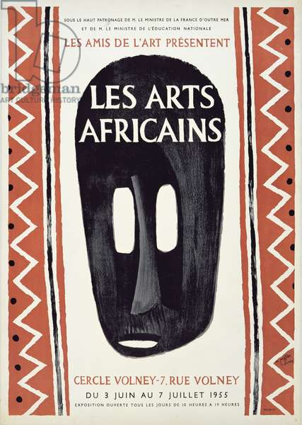 Poster advertising 'Les Arts Africains' exhibition, 1955 (colour litho)