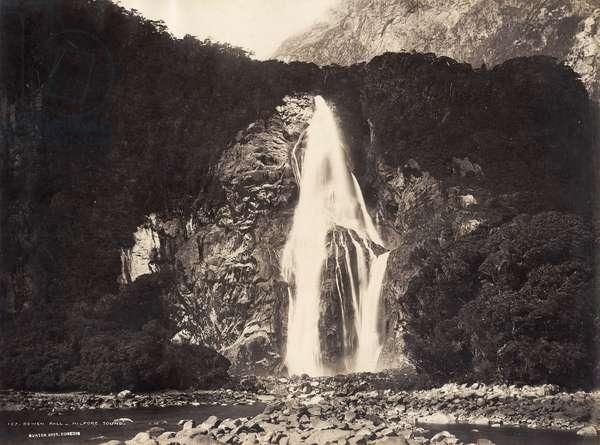 Bowen Fall, Milford Sound, 1889 (albumen print)