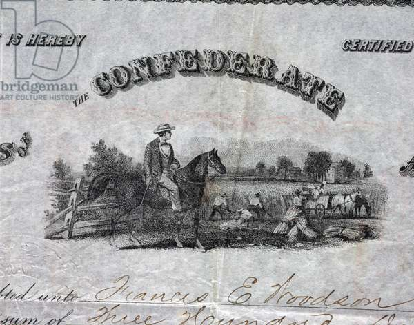 Detail of a Confederate  Bond, Richmond, Virginia, 4 August 1863 (engraving)