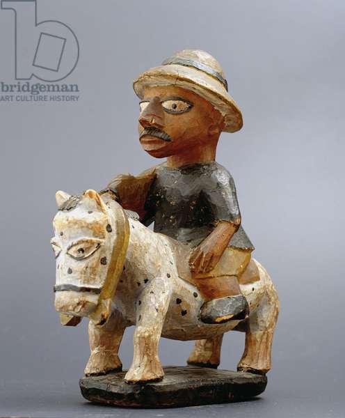 Figure of a horse and European rider, Yoruba, Nigeria, c.1920 (wood)