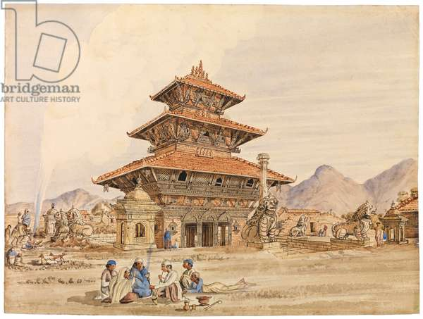 Temple of Devi, Patan, Nepal, 1850s (w/c on paper)