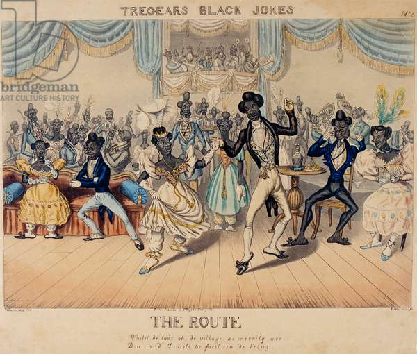 Tregears Black Jokes - The Route, engraved by Hunt c.1834 (etching, engraving, aquatint & w/c on paper) (photo)