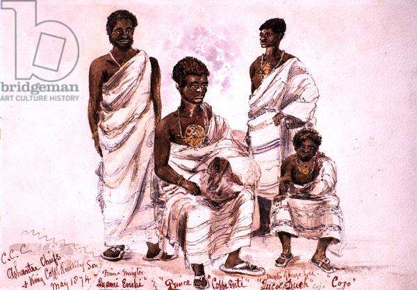 'C.C.C. Ashantee Chiefs and King Coffe Kollally Son', 1874 (pen and washes on paper)