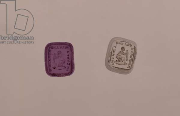Two abolitionist seals, made by William Tassie, England, c.1825 (amethyst and clear glass)