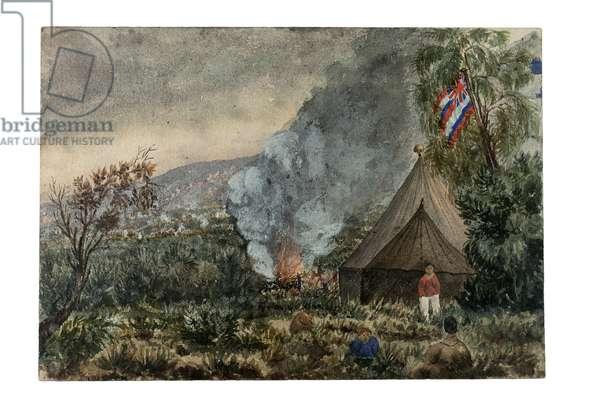 Mauna Kea volcano, Hawaii, March 1859 (w/c on paper)