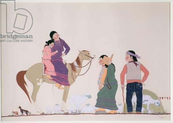 Chiricahua Apache family, 1938 (w/c on paper)