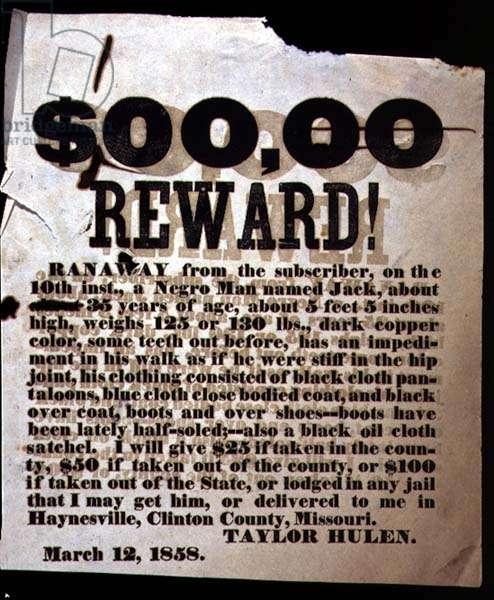 Reward Poster, March 12, 1858 (letterpress broadside)