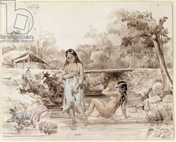 Tahitians Bathing, 1844 (pen and wash on paper)