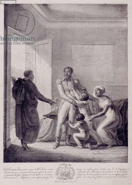 General Toussaint L'Ouverture (c.1743-1803) Spurns his Family, 1822 (litho)