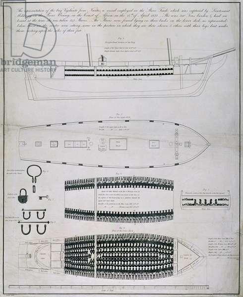 The Slave Ship Vigilante, engraved by J. Hawksworth, 1823 (engraving)