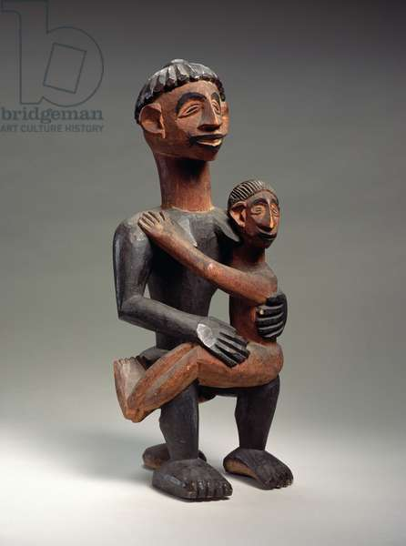 Seated African mother and child, Igbo, Nigeria, early 20th century (wood)