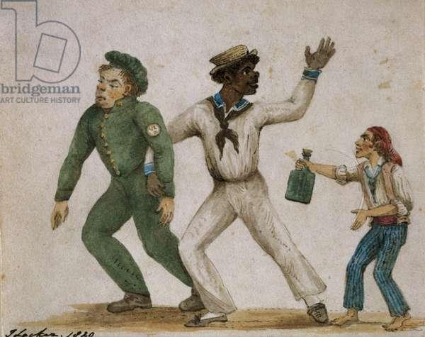 Three Drunken Sailors, 1829 (w/c on paper)