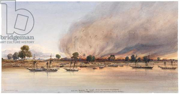 The destruction of the town of Cascas in Senegal, 1843 (w/c on paper)