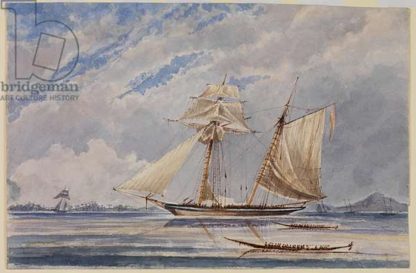 A Slave Schooner, c.1840 (w/c, pen & ink on paper)