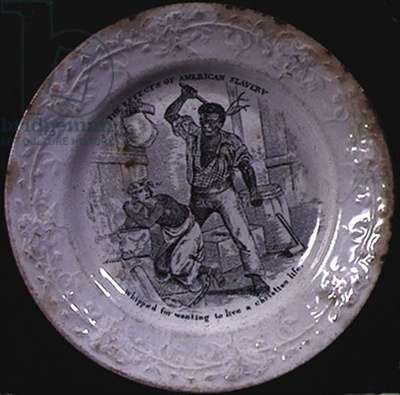 'The Effects of American Slavery: whipped for wanting to live a Christian life', c.1840 (black and white transfer printed dish)