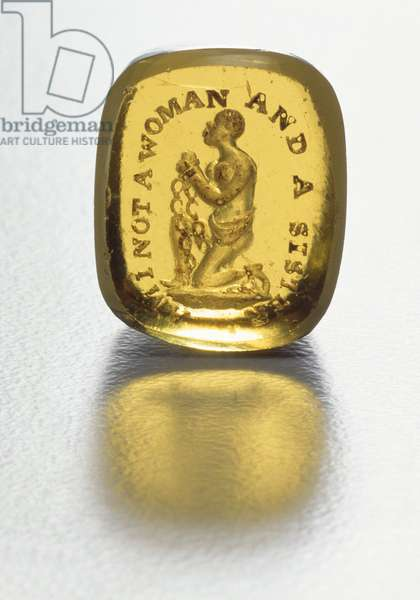 'Am I Not a Woman and a Sister', Abolitionist Seal, depicting a chained slave kneeling, c.1830 (clear glass)