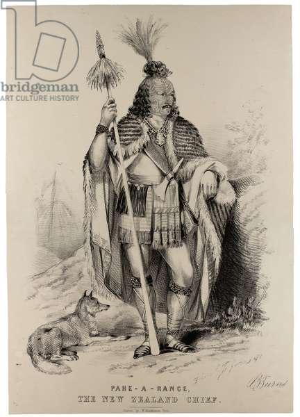 Pahe-A-Range, the New Zealand Chief, c.1844 (litho)