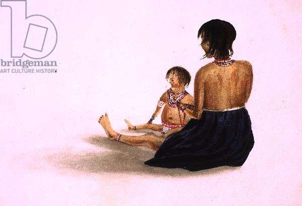 Arawaka Indian and Child-Demerara (w/c on paper)
