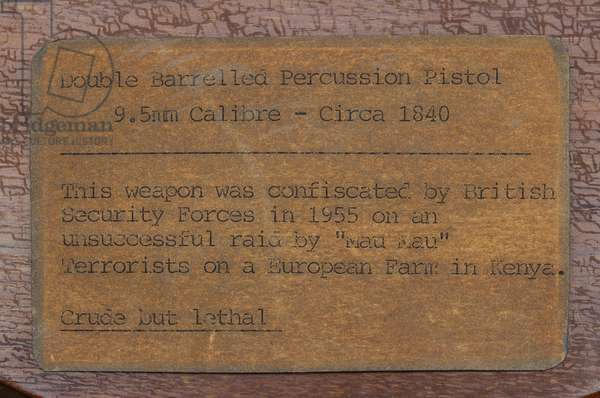 Typed label for a double barrelled percussion pistol (373725) (printed paper)