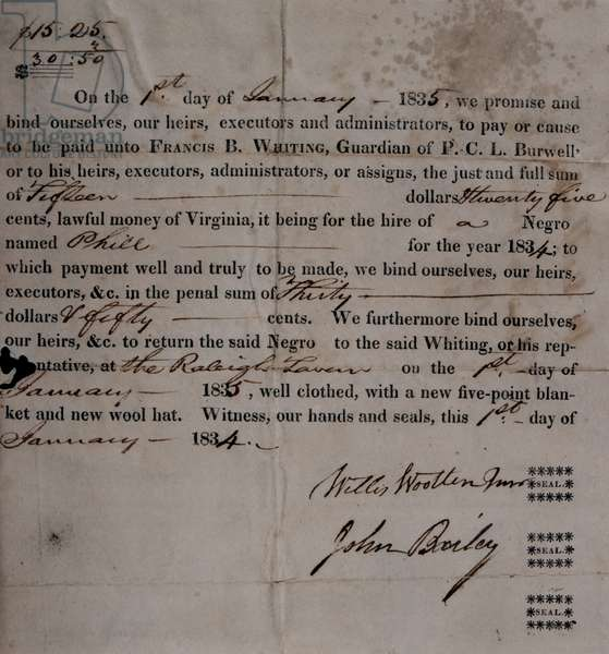 Receipt for the hire of a slave, Virginia, USA, 1st January 1834 (letterpress and pen & ink on paper)