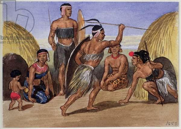 Zulus dancing in London, 1853 (w/c on paper)
