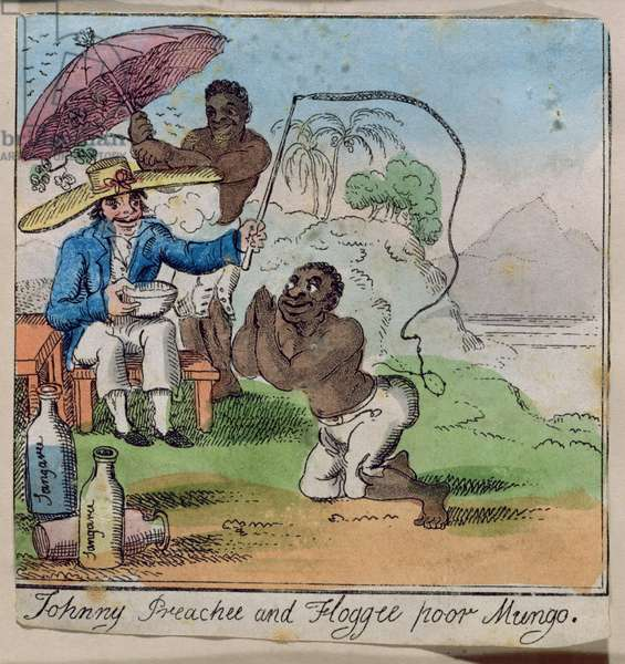 'Johnny Preechee and Floggee Poor Mungo', from The Adventures of Johnny Newcome, published by William Holland, 1812 (etching with publisher's colouring)