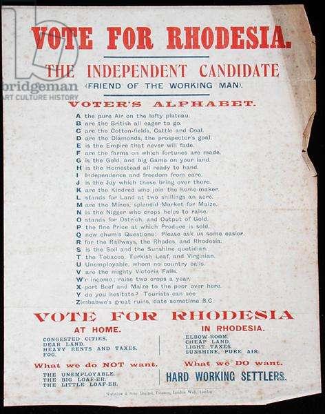 Vote For Rhodesia, c.1900