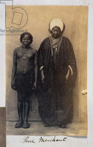 Slave Merchant with a Female Slave, Cairo, c.1864 (carbon print photo)
