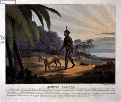 African Slavery, engraved by Clark and Dubourg, London, 1813 (steel engraving with publisher's colouring)