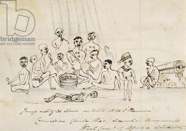 Group of 311 slaves on board H.M.S. 'Vesuvius', c.1850 (pencil & ink on paper)