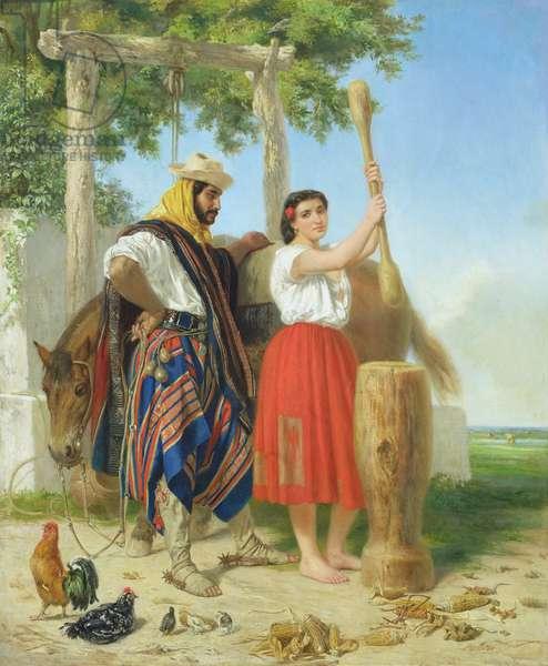 The pounding of the corn; Spanish American Scene (oil on panel)