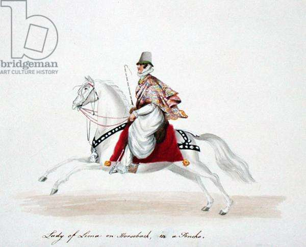 Lady of Lima on Horseback in a Poncho, 1822 (w/c on paper)