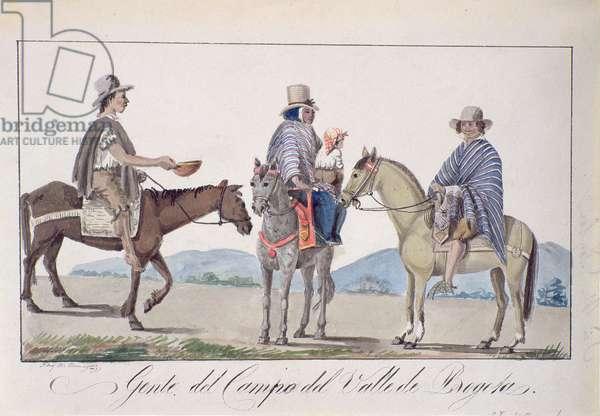 Gente, del Campo del valle de Bogota, c.1840 (w/c on paper)