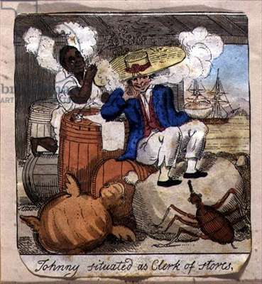 Johnny Situated as Clerk of Stores, from 'The Adventures of Johnny Newcome', pub. by William Holland, 1812 (etching with publisher's colouring)