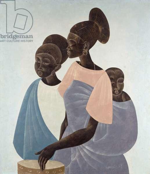 Mangbetu Women, 1971 (oil on canvas)