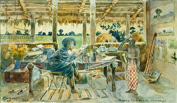 The artist in his studio at Chilomba, Katanga, 1898 (pencil and w/c on paper)