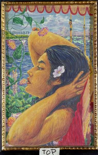 Vahine, Tahiti, c.1920 (w/c on paper)