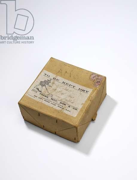 Box for golliwog mask, 1920s (cardboard)